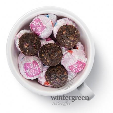 Чай прессованный мини- точа с розой китайский элитный шу пуэр прессованный
