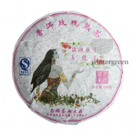Чай китайский элитный шу пуэр Бин Ча с розой Блин 100 гр. (блин)