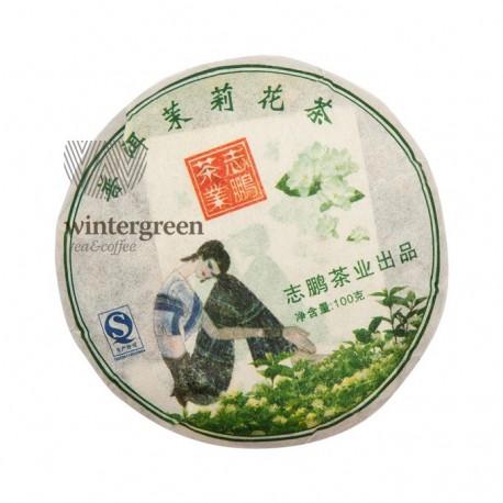 Чай китайский элитный шу пуэр Бин Ча с жасмином 100 гр. (блин)