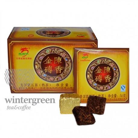 Чай китайский элитный Золотой прессованный Шу Пуэр (порционный), фабрика Мэнгхай Лун Юань, упак. 400 гр