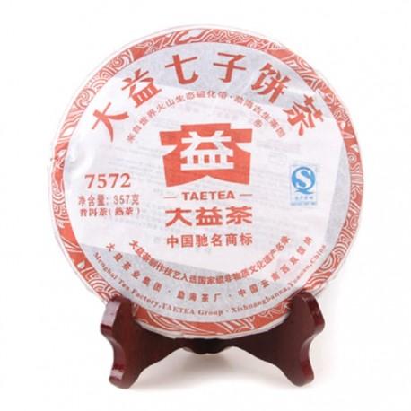 Чай Шу пуэр 7572 фабрика Менхай Даи сбор 2012г 357г (блин)