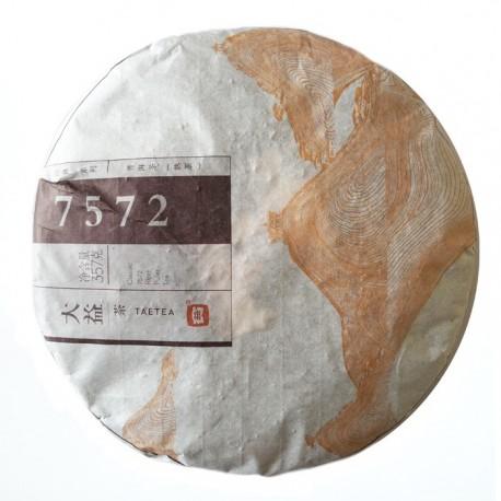 Чай Шу пуэр 7572 фабрика Менхай Даи сбор 2014г 357г (блин)