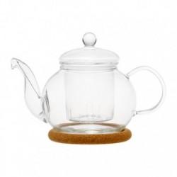 """Чайник стеклянный """"Подснежник"""" с заварочной колбой , пробковой подставкой и пружинкой-фильтром в носике, 350 мл., дно d70 мм."""