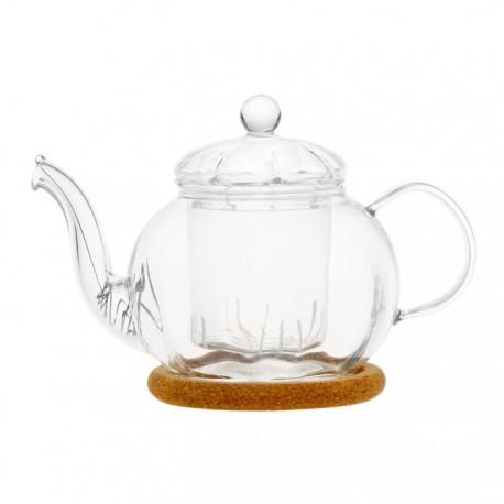"""Чайник стеклянный """"Фиалка"""" с заварочной колбой, с пробковой подставкой и фильтром в носике,350 мл., дно d70 мм."""
