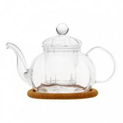 """Чайник стеклянный """"Камелия"""" с заварочной колбой, с пробковой подставкой и пружинкой-фильтром в носике,470 мл., дно d95 мм."""
