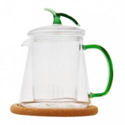 """Чайник стеклянный """"Магнолия"""" с заварочной колбой и пробковой подставкой,400 мл, дно d100 мм."""