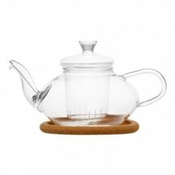 """Чайник стеклянный """"Жасмин"""" с заварочной колбой, пробковой подставкой и пружинкой- фильтром в носике,500 мл., дно d70 мм."""