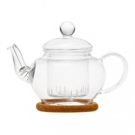 """Чайник стеклянный """"Нарцисс"""" с заварочной колбой, пробковой подставкой и пружинкой- фильтром в носике,350 мл., дно d50 мм."""