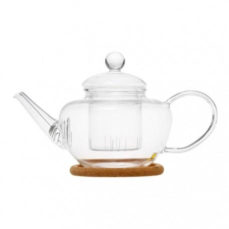 """Чайник стеклянный """"Фикус"""" с заварочной колбой, пробковой подставкой и пружинкой- фильтром в носике,500 мл., дно d65 мм."""