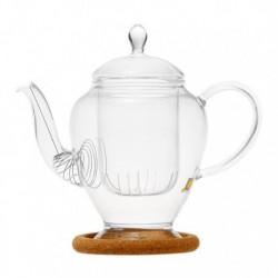 """Чайник стеклянный """"Гортензия"""" с заварочной колбой, пробковой подставкой и пружинкой- фильтром в носике,320 мл., дно d65 мм."""