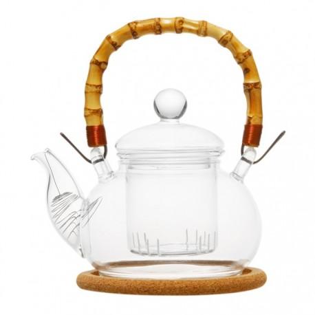 """Чайник стеклянный """"Мак"""" с бамбуковой ручкой,заварочной колбой, пробковой подставкой и пружинкой- фильтром в носике,500 мл."""