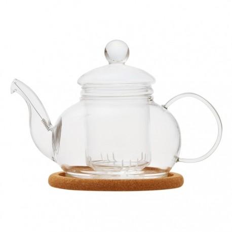 """Чайник стеклянный """"Лотос"""" с заварочной колбой, пробковой подставкой и пружинкой- фильтром в носике,объем 480 мл., дно d95 мм."""