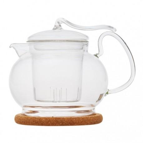 """Чайник стеклянный """"Эдельвейс """" с заварочной колбой и пробковой подставкой,600 мл., дно d85 мм."""