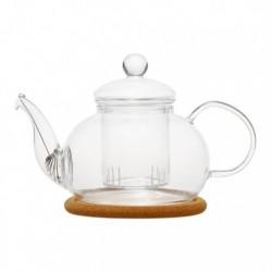 """Чайник стеклянный """"Орхидея"""" с заварочной колбой,пробковой подставкой и пружинкой-фильтром в носике.Объем 800 мл., дно d100 мм."""