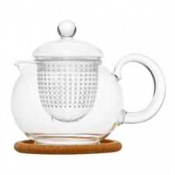 """Чайник стеклянный """"Пион"""" с заварочной колбой и пробковой подставкой,800 мл., дно d75 мм."""