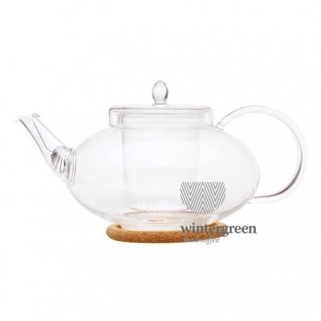 """Чайник стеклянный """"Душистая лилия"""" с заварочной колбой,пробковой подставкой и пружинкой-фильтром в носике,1л., дно d75 мм."""