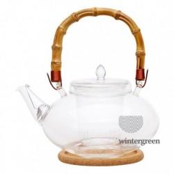 """Чайник стеклянный """"Душистая кувшинка"""" с заварочной колбой, подставкой, бамбуковой ручкой и фильтром в носике, 1 л., дно d80 мм."""