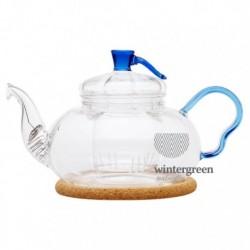 """Чайник стеклянный """"Крокус"""" с заварочной колбой,пробковой подставкой и пружинкой-фильтром в носике, 500 мл., дно d80 мм."""