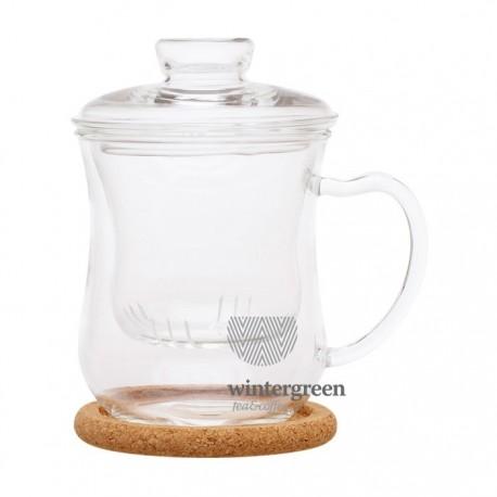 """Чашка из жаропрочного стекла """"Гиацинт"""" с заварочной колбой,крышкой и пробковой подставкой, 300 мл."""