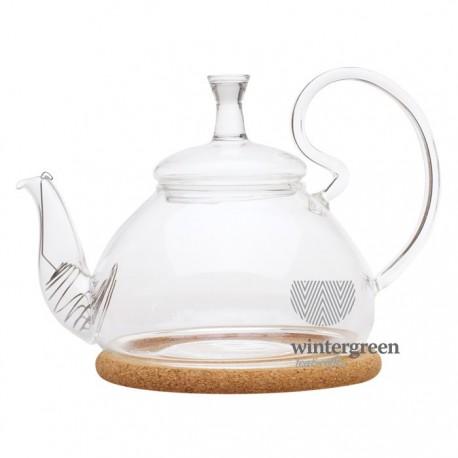 """Чайник стеклянный """"Георгин средний"""" с пробковой подставкой и пружинкой- фильтром в носике, 600 мл., дно d95 мм."""