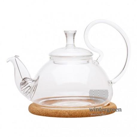 """Чайник стеклянный """"Георгин малый"""" с пробковой подставкой и пружинкой- фильтром в носике, 400 мл., дно d85 мм."""