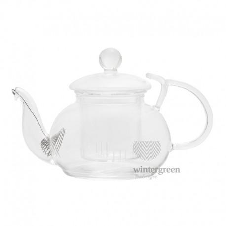 """Чайник из жаропрочного стекла """"Розмарин"""" с держателем для крышки, заварочной колбой и фильтром в носике, 450 мл."""