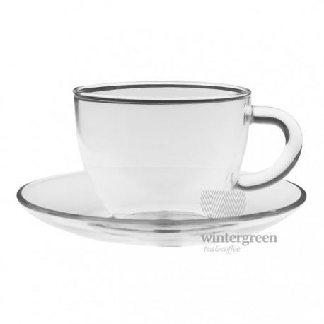"""Чайная пара""""Стеклянный бутон"""" из жаропрочного стекла. Объем 150 мл."""