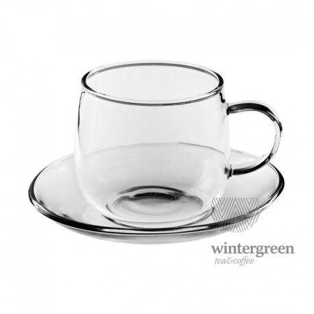 """Чайная пара """"Чайная роза""""из жаропрочного стекла. Объем 200 мл."""