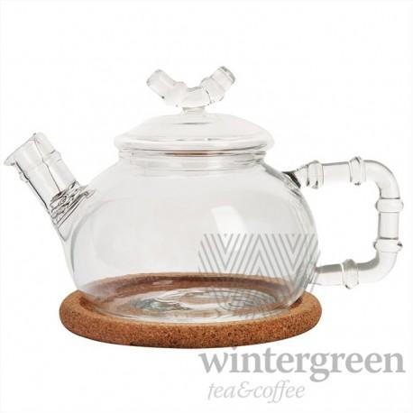"""Чайник из жаропрочного стекла """"Бамбук средний"""" с пружинкой-фильтром в носике и пробковой подставкой, 460 мл., дно d90 мм."""