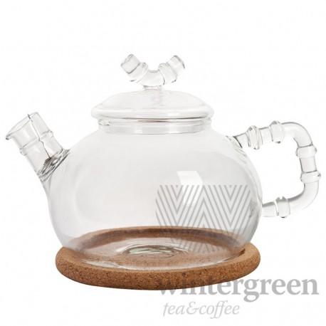 """Чайник из жаропрочного стекла """"Бамбук"""" с пружинкой-фильтром в носике и пробковой подставкой, 630 мл., дно d100 мм."""