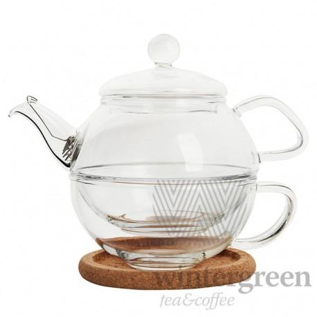 """Набор для чаепития 2 в 1 """"Утренний чай"""" из жаропрочного стекла."""