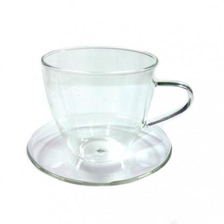 """Чайная пара """"Стеклянный бутон"""" из жаропрочного стекла. Объем 200 мл."""