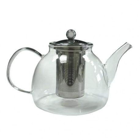 """Чайник """"Мальва"""" из жаропрочного стекла с металлической заварочной колбой, 1200 мл., дно d135 мм."""