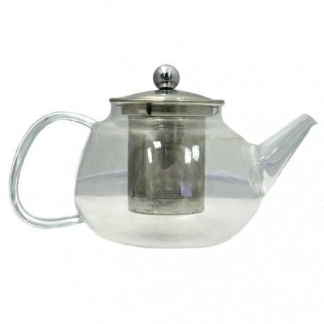"""Чайник """"Флокс"""" из жаропрочного стекла с металлической заварочной колбой, 750 мл., дно d90 мм."""
