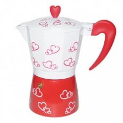 Гейзерная кофеварка на 6 чашек, с сердечками