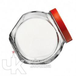 Банка 1500мл с крышкой «Бэлла»  стекло,пластик  прозр.,красный