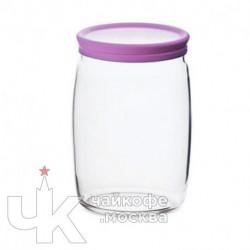 Банка 1100мл с крышкой «Чешни»  стекло,пластик  D-9.4,H-16.3см  прозр.,фиолет.