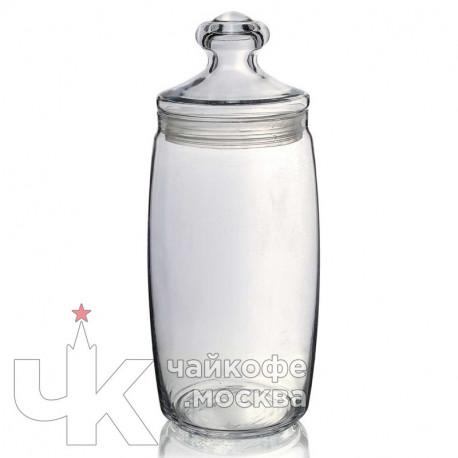 Банка 1500мл с крышкой «Чешни»  стекло,резина  D-9.4,H-20см  прозр.